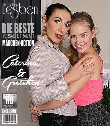 Mature - Caterina (40), Gretchen (18) - Heißes Babe hat Spaß einer frechen reifen Lesbe