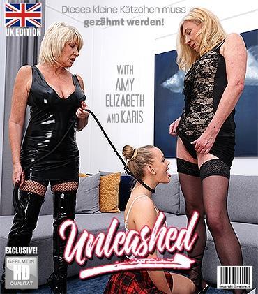 Mature - Amy (EU) (56), Elizabeth (48), Karis (21) - Zwei ältere Lesben teilen sich ein freches Kätzchen, das gezähmt werden muss.