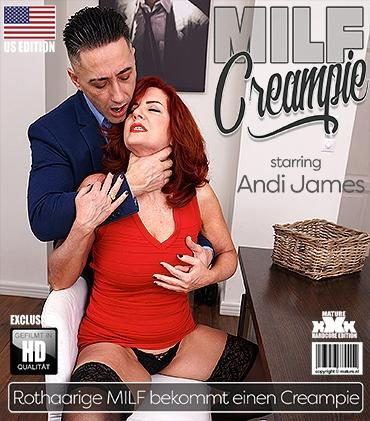 Mature - Andi James (53) - Beautiful redhead MILF Andi James getting a creampie after fucking and sucking