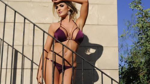Tommie Tease — Purple Lingerie On the Stairs
