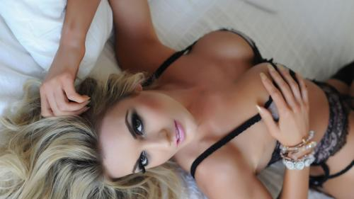 Tommie Tease - Black Lingerie on the Bed