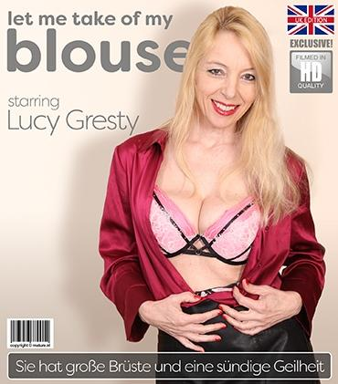 Mature - Lucy Gresty (EU) (51) - Big breasted Lucy Gresty is taking off her blouse and getting very frisky when she takes out her dildo